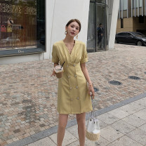 Dress Summer 2020 Apricot, skin powder, mustard yellow S,M,L Middle-skirt singleton  Short sleeve commute V-neck High waist Solid color double-breasted other routine Others Type H Other / other Korean version 906-L635 81% (inclusive) - 90% (inclusive) other other