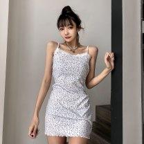 Dress Spring 2021 white S,M,L Short skirt singleton  commute A-line skirt camisole Type A Retro HSD3434W0F 31% (inclusive) - 50% (inclusive) polyester fiber