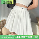 skirt Spring 2021 S,M,L White, black Short skirt street High waist A-line skirt Solid color Type A 18-24 years old HSD1647W0D 31% (inclusive) - 50% (inclusive) polyester fiber Pleat, pleat Europe and America