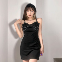 Dress Summer 2021 black S,M,L Short skirt singleton  Sleeveless street High waist Solid color routine camisole 18-24 years old Type A Diamond, bow AMVCD13062 31% (inclusive) - 50% (inclusive) polyester fiber Europe and America
