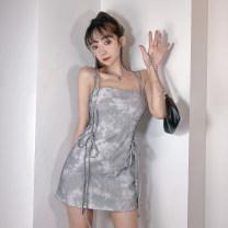 Dress Summer 2021 Blue, gray S,M,L Short skirt singleton  Sleeveless commute High waist A-line skirt camisole 18-24 years old Type A court AMVCD13137 51% (inclusive) - 70% (inclusive) brocade polyester fiber
