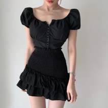Dress Spring 2021 Jacket, skirt Average size Short skirt Two piece set Short sleeve street square neck High waist Solid color A-line skirt puff sleeve 18-24 years old Type A Ruffles, ruffles, folds HSVAD10661 VBT11356 51% (inclusive) - 70% (inclusive) polyester fiber Europe and America