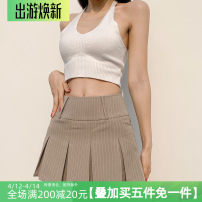 skirt Summer 2021 S,M,L khaki Short skirt street High waist A-line skirt stripe Type A 18-24 years old AMWAD10833 31% (inclusive) - 50% (inclusive) other polyester fiber Pleat, pleat Europe and America
