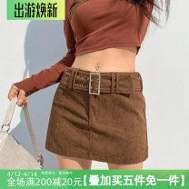skirt Spring 2021 S,M,L khaki Short skirt street High waist A-line skirt Type A HSD8864W0J 31% (inclusive) - 50% (inclusive)