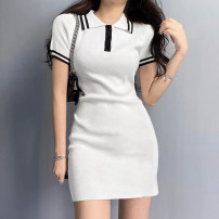 Dress Spring 2021 White, blue S,M,L singleton  Short sleeve commute High waist A-line skirt routine Type A Retro 51% (inclusive) - 70% (inclusive) polyester fiber