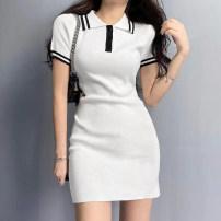 Dress Spring 2021 White, blue S,M,L singleton  Short sleeve commute High waist A-line skirt routine Type A Retro 51% (inclusive) - 70% (inclusive) polyester fiber