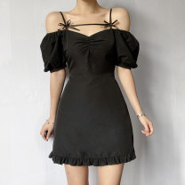 Dress Summer 2021 black S,M,L Short skirt singleton  Short sleeve street One word collar High waist Solid color Socket A-line skirt puff sleeve Breast wrapping 18-24 years old Type A Bow tie AMMCT12287 91% (inclusive) - 95% (inclusive) polyester fiber Europe and America