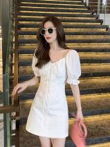 Dress Summer 2020 Black, white S,M,L,XL Short skirt singleton  Short sleeve commute V-neck High waist Solid color Socket A-line skirt puff sleeve Others Type A Korean version Frenulum