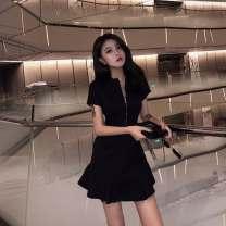 Dress Summer of 2019 black S,M,L,XL,2XL Middle-skirt singleton  Short sleeve commute High waist Solid color zipper A-line skirt routine Others Type X Retro zipper