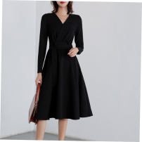 Dress Spring of 2019 black S,M,L,XL,2XL Mid length dress singleton  Long sleeves commute V-neck High waist Solid color Socket Big swing routine Others 18-24 years old Korean version Pocket, stitching, three-dimensional decoration
