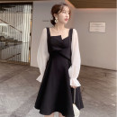 Dress Autumn of 2019 black S,M,L,XL Middle-skirt singleton  Long sleeves commute other High waist Solid color zipper A-line skirt pagoda sleeve Others Type A Korean version Splicing