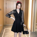 Dress Autumn 2020 Apricot, black S,M,L,XL,2XL Short skirt singleton  Long sleeves commute tailored collar High waist Solid color Socket A-line skirt puff sleeve Others Type A Korean version Chains, bows, tassels, stitches, mesh