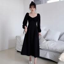 Dress Autumn 2020 black S,M,L,XL longuette singleton  Long sleeves commute square neck High waist Solid color zipper A-line skirt puff sleeve Others Type A Retro