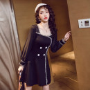 Dress Autumn of 2019 black S,M,L,XL,2XL Short skirt singleton  Long sleeves commute square neck High waist Solid color zipper A-line skirt routine Others 18-24 years old Type A Korean version Panel, button, mesh