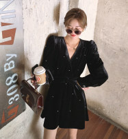 Dress Winter 2020 black S,M,L Short skirt singleton  Long sleeves commute V-neck High waist Solid color Socket A-line skirt puff sleeve Others Type A Retro