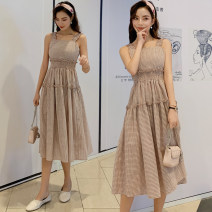 Dress Summer of 2019 Pink S,M,L,XL Mid length dress singleton  Sleeveless commute square neck High waist lattice Socket A-line skirt other camisole 18-24 years old Type A Korean version fungus 8619#