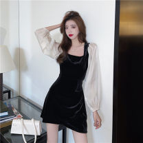 Dress Spring 2021 Brown, black S,M,L,XL Short skirt singleton  Long sleeves commute square neck High waist Solid color Socket A-line skirt bishop sleeve Others 18-24 years old Type A Korean version Pleats, stitches, zippers