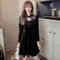Dress Winter 2020 black S,M,L,XL,2XL Middle-skirt singleton  Long sleeves commute stand collar High waist Solid color Socket A-line skirt routine Others 18-24 years old Type A Retro Ruffles, hollows, folds, Auricularia auricula, stitching, beads, buttons, mesh, lace other other