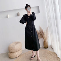 Dress Autumn 2020 black S,M,L,XL,2XL longuette singleton  Long sleeves commute V-neck High waist Solid color Single breasted A-line skirt bishop sleeve Others Type A Korean version Button