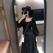 Dress Autumn of 2019 black S,M,L,XL,2XL,3XL Mid length dress singleton  Long sleeves commute square neck High waist Solid color Single breasted A-line skirt other Others Type A Korean version Button