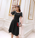Dress Summer of 2019 Red, black S,M,L,XL Mid length dress singleton  Short sleeve commute square neck High waist Solid color Socket A-line skirt pagoda sleeve Others Type A Emelin / Irene Retro