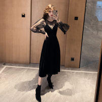 Dress Winter 2016 black S,M,L,XL Mid length dress Two piece set Long sleeves commute Crew neck High waist Solid color Socket A-line skirt routine camisole 18-24 years old Type A Other / other Korean version Gauze, lace