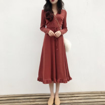 Dress Autumn of 2019 Red, black S,M,L,XL,2XL,3XL longuette singleton  Long sleeves commute V-neck High waist Solid color Single breasted Big swing routine Others Type A Korean version Lace up, panel, button knitting