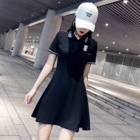 Dress Summer 2020 White, black S,M,L,XL,2XL Short skirt singleton  Short sleeve commute Polo collar High waist letter Three buttons A-line skirt routine Others 25-29 years old Type A Retro Embroidery other