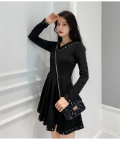 Dress Winter of 2019 black S,M,L,XL,2XL Middle-skirt singleton  Long sleeves commute V-neck High waist Solid color Socket A-line skirt routine Others Type A Other / other Korean version Rivet, tie, bead, zipper