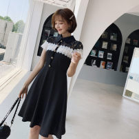 Dress Summer of 2019 black S,M,L,XL Mid length dress singleton  Short sleeve commute Doll Collar High waist Solid color Socket A-line skirt Others Type A Korean version Button, stitching, crochet and hollow out