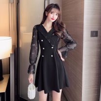 Dress Autumn 2020 Apricot sleeves, black sleeves S,M,L,XL,2XL Short skirt singleton  Long sleeves commute V-neck High waist Solid color zipper A-line skirt pagoda sleeve Others Type A Korean version Stitching, sequins, mesh