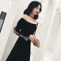 Dress Autumn of 2019 Black velvet, black Roman fabric S,M,L,XL Mid length dress singleton  Long sleeves commute One word collar High waist Solid color zipper A-line skirt routine Others Type A Other / other Korean version