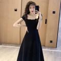 Dress Summer 2020 black S,M,L,XL Mid length dress singleton  Short sleeve commute other High waist Solid color zipper A-line skirt Others Type A Retro