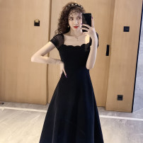 Dress Summer 2020 black S,M,L,XL Mid length dress singleton  Short sleeve commute other High waist Solid color zipper A-line skirt Others Type A Retro