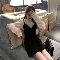 Dress Autumn 2020 Black suspender skirt + white top S,M,L,XL Short skirt Two piece set Sleeveless commute V-neck High waist Solid color Socket A-line skirt other camisole Type A Korean version