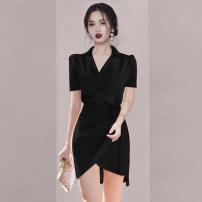 Dress Summer 2021 Pink, Burgundy, black S,M,L,XL Short skirt singleton  Short sleeve commute V-neck High waist Solid color Socket other routine Others Ol style