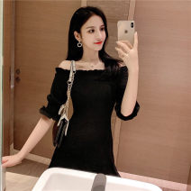 Dress Summer of 2019 Off white, black S,M,L,XL Short skirt singleton  Short sleeve commute One word collar High waist Solid color Socket One pace skirt 18-24 years old Korean version fungus