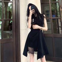 Dress Summer of 2019 black S,M,L,XL Middle-skirt singleton  Sleeveless commute Crew neck High waist Solid color zipper Irregular skirt other Others Type A Korean version