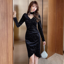 Dress Spring 2021 black S,M,L,XL,2XL Middle-skirt singleton  Long sleeves commute Half high collar middle-waisted Solid color Socket One pace skirt routine Others 25-29 years old Type X Korean version Fringes, hollows, folds