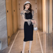 Dress Autumn of 2019 black S,M,L,XL Mid length dress singleton  Long sleeves commute High waist Dot Socket One pace skirt pagoda sleeve Others 25-29 years old Type A Retro Ruffles, hollowed out, stitched