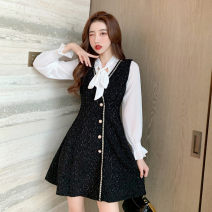 Dress Spring 2021 black S,M,L,XL,2XL Short skirt Two piece set Long sleeves commute other High waist Solid color Single breasted A-line skirt pagoda sleeve Others Type A Bow, button