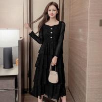 Dress Autumn 2020 black S,M,L,XL longuette singleton  Long sleeves commute square neck High waist Socket Cake skirt routine Others Type A Korean version Stitching, sequins, buttons