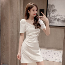 Dress Summer 2020 White, black XS,S,M,L,XL Short skirt singleton  Short sleeve commute V-neck High waist Solid color Socket A-line skirt other Others 18-24 years old Type A Korean version Pleating
