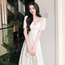 Dress Summer 2020 White (front and back), black (front and back) S,M,L,XL Mid length dress singleton  Short sleeve commute other High waist Solid color Socket A-line skirt routine Others Type A Korean version