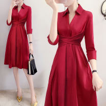 Dress Autumn 2020 claret S,M,L,XL,2XL Mid length dress singleton  three quarter sleeve commute V-neck High waist Solid color Socket A-line skirt other Others Type A Korean version Lace up