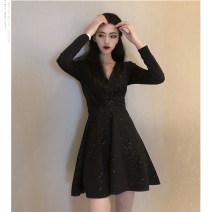 Dress Spring 2020 black S,M,L,XL Short skirt singleton  Long sleeves commute V-neck High waist Solid color Socket A-line skirt routine Others Type A Korean version Lace up, Sequin