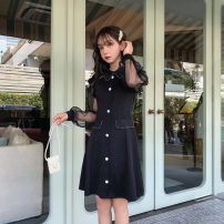 Dress Autumn of 2019 black S,M,L,XL Short skirt singleton  Long sleeves commute Polo collar High waist Solid color zipper A-line skirt Others Type A Other / other Korean version