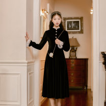 Dress Winter of 2019 black S,M,L,XL longuette singleton  Long sleeves commute stand collar High waist Solid color Socket A-line skirt pagoda sleeve Others Type A Retro Button, lace