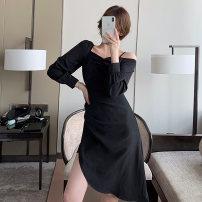 Dress Winter 2020 black S,M,L,XL Middle-skirt singleton  Long sleeves commute One word collar High waist Solid color Socket A-line skirt shirt sleeve Type A Zipper, stitching