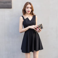 Dress Summer of 2018 White, black S,M,L,XL Middle-skirt other Sleeveless commute High waist Solid color zipper A-line skirt Others Type A Other / other Korean version Splicing, asymmetric other